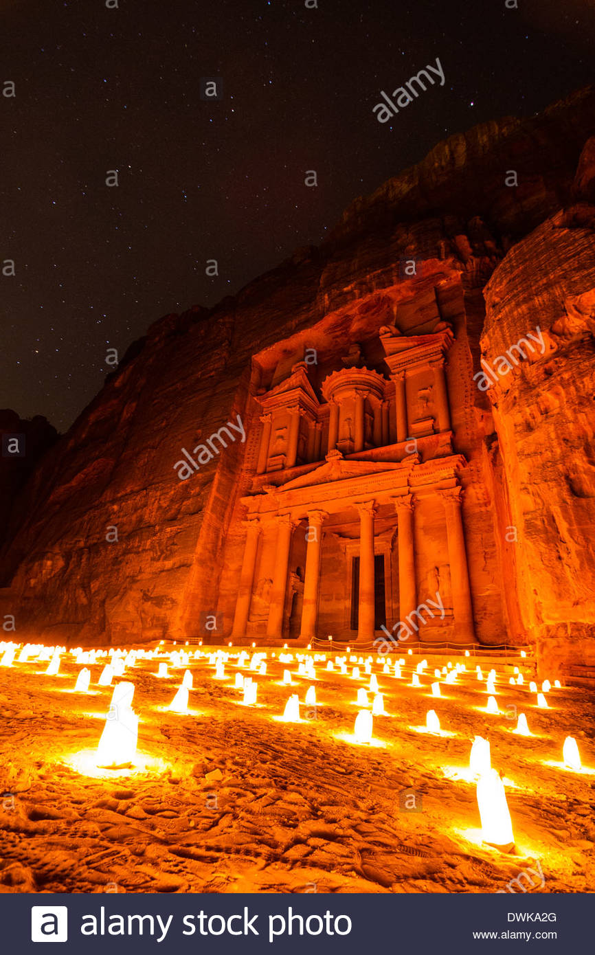 The Treasury At Petra By Candle Light, Petra, Jordan - Stock Image