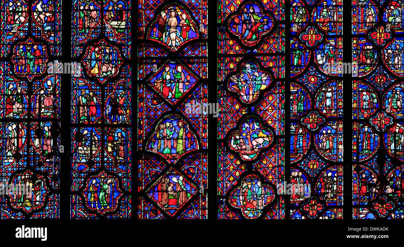 The Sainte-Chapelle stain-glass windows, Paris, France - Stock Image