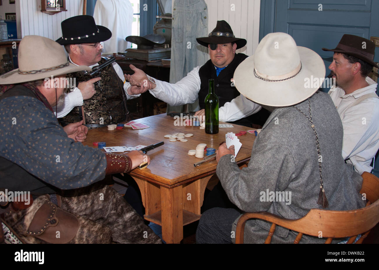 A cheater found in an old west poker game - Stock Image