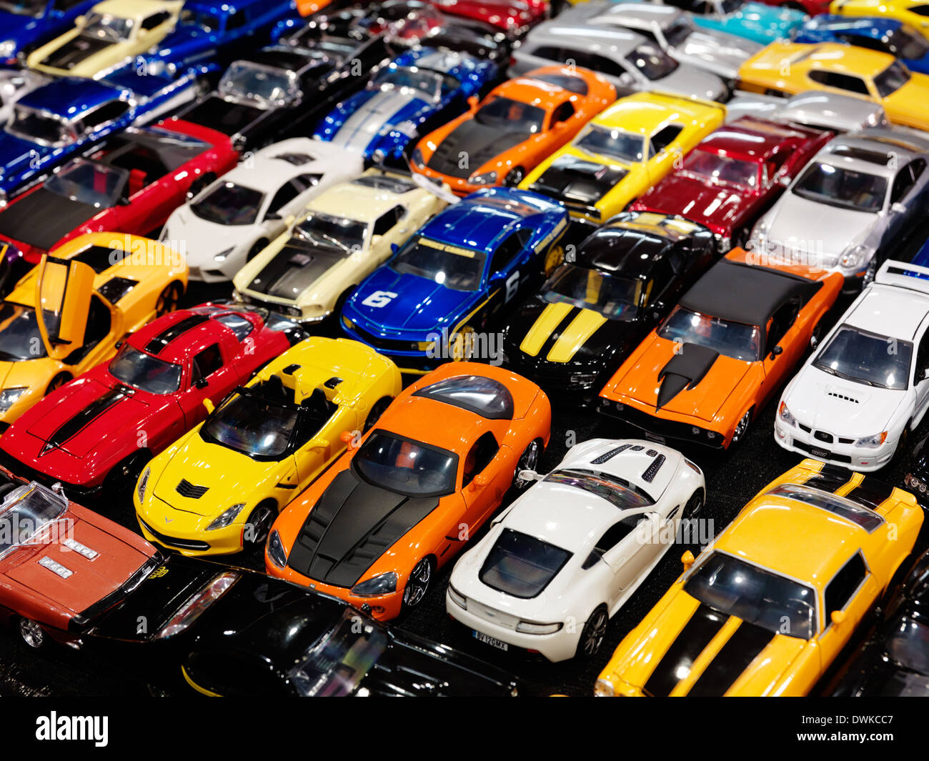 Sports cars, colorful die-cast models closeup - Stock Image