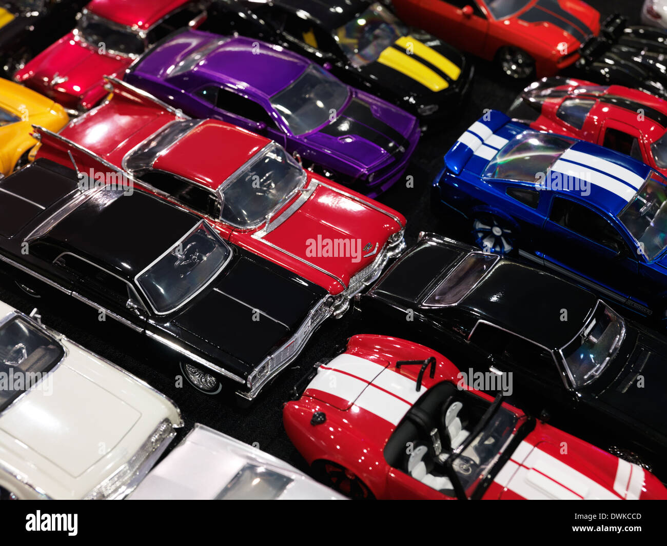 Diecast toy car models, classic and sports cars - Stock Image