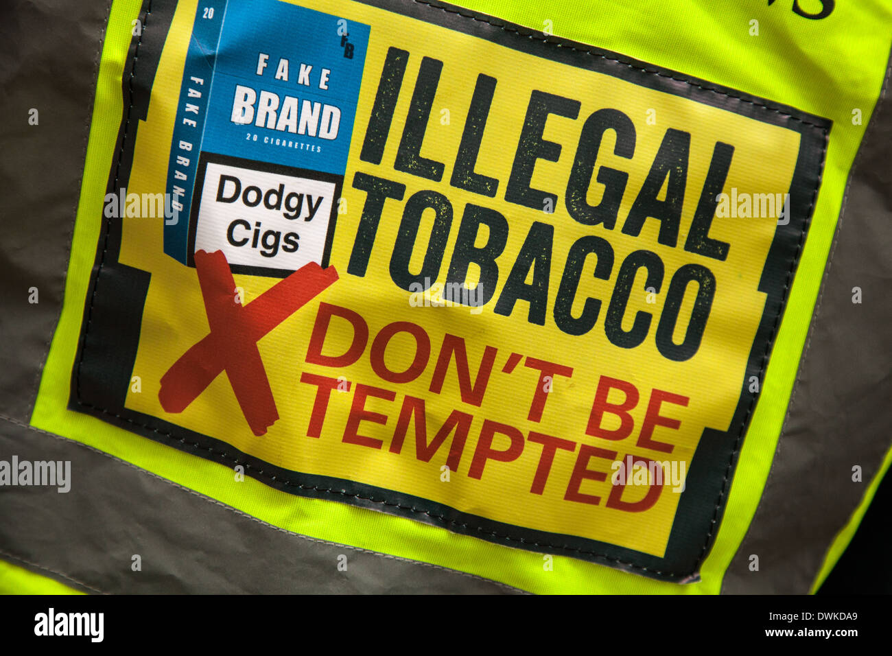 Illegal Tobacco - Don' t be tempted _ Hi-vis shirt to deter purchase of illegal imports_Dodgy cigs, Manchester City Centre. - Stock Image