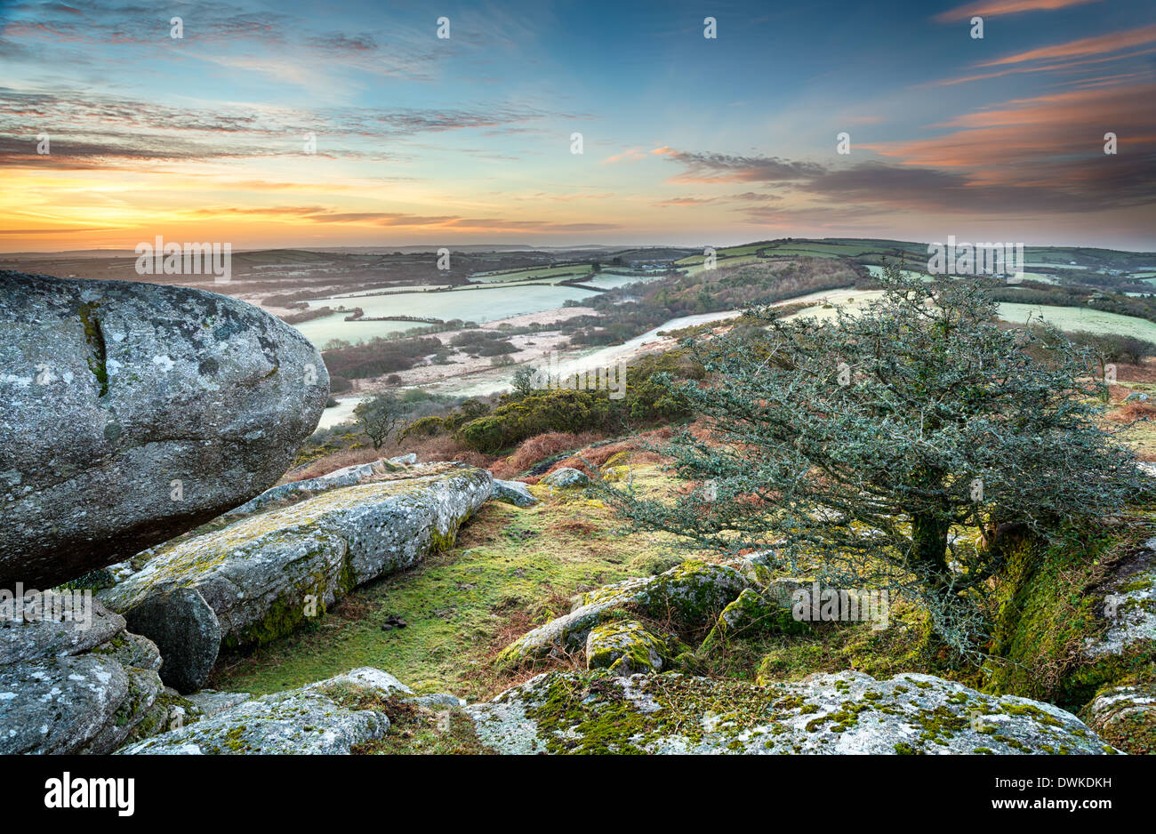 A frosty March sunrise at Helman Tor in Cornwall - Stock Image