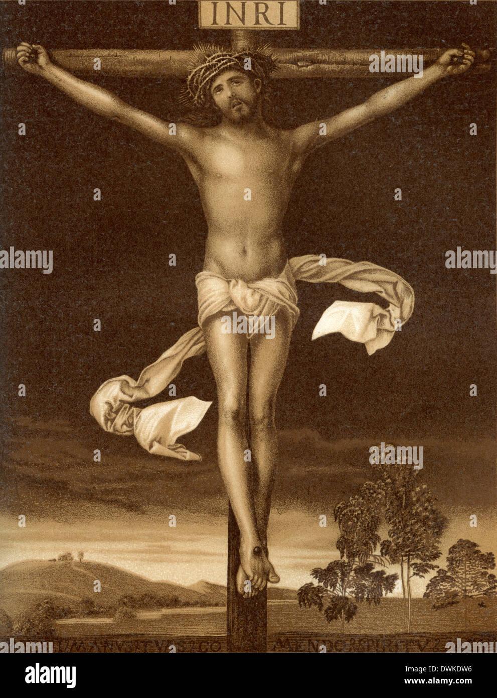 Jesus Christ on the cross. By Albrecht Dürer - Stock Image