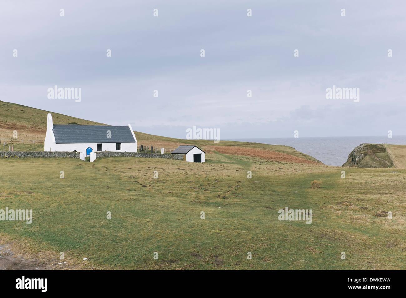 Mwnt church, Cardigan Bay. - Stock Image