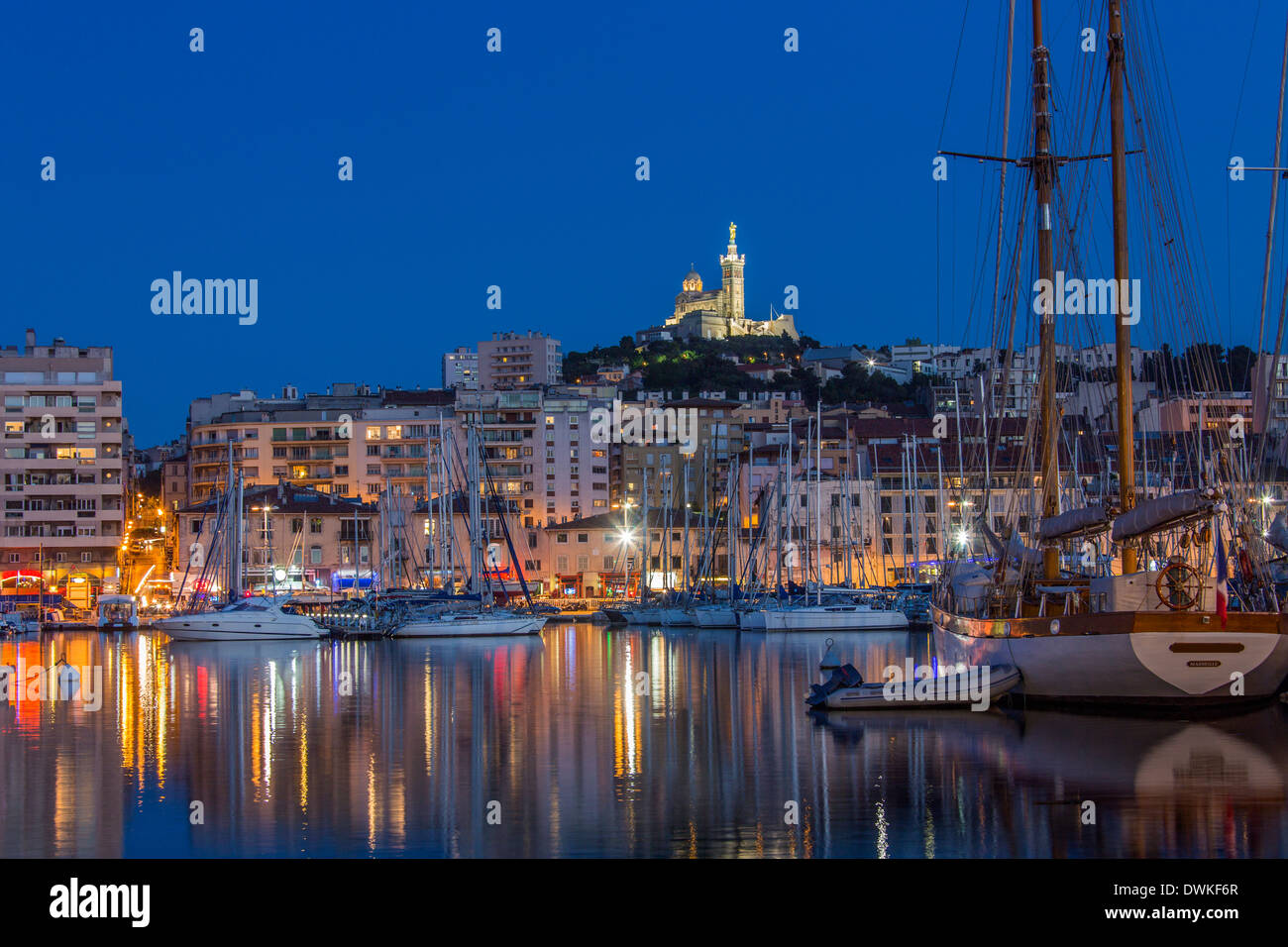 The harbor of Marseille at night - South of France - Stock Image