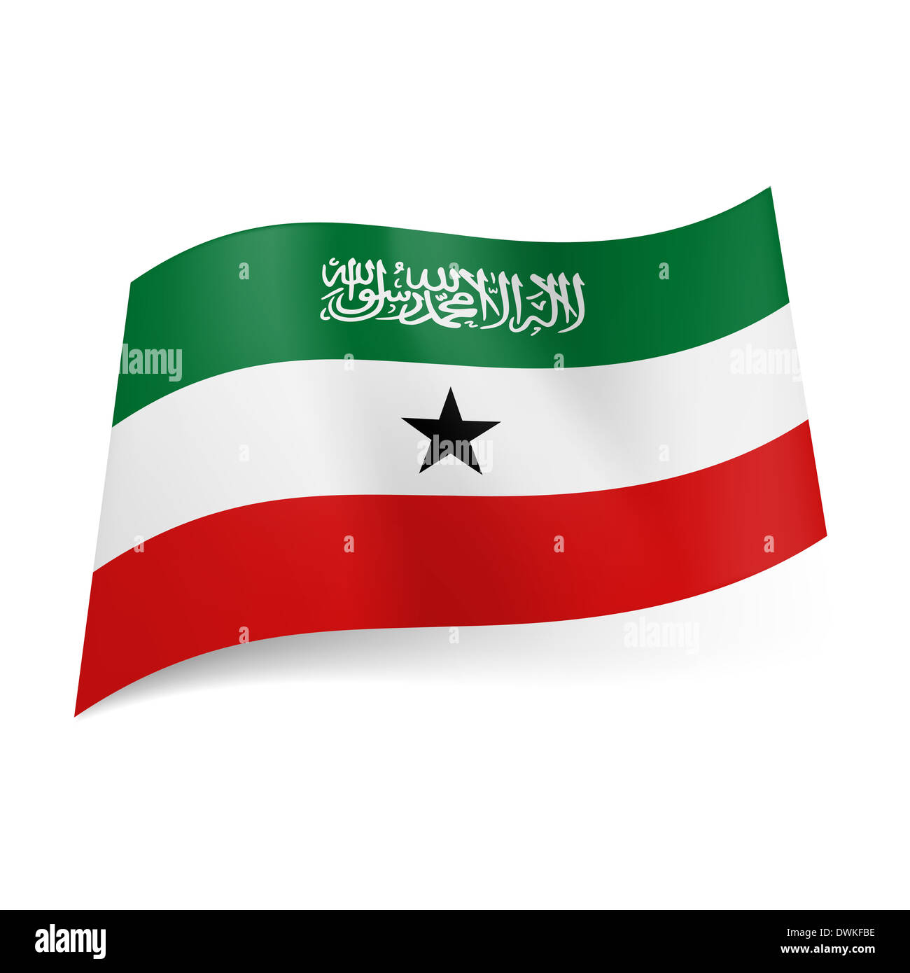 National Flag Of Somaliland Green White And Red Horizontal Stripes