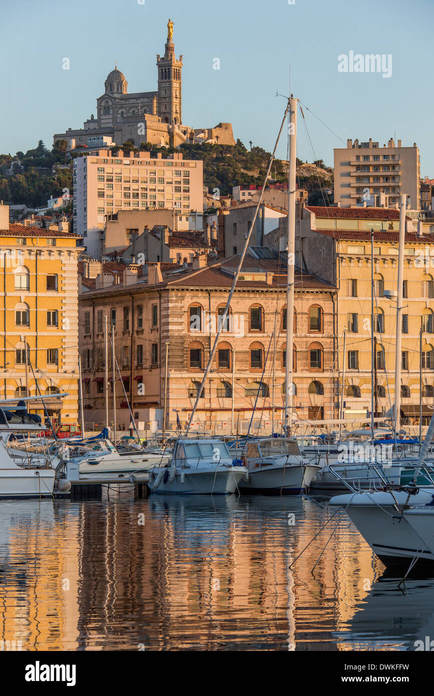 Late afternoon sunlight on the port of Marseille on the Cote d'Azur in the South of France. - Stock Image