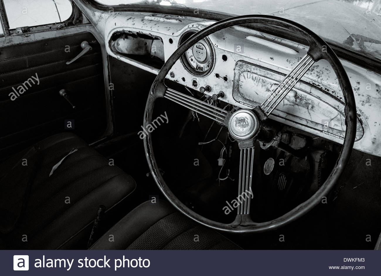 Interior View Of A Vintage Mercedes Benz In The Temple Grounds Thai Wat Chaiyaphum Province Thailand