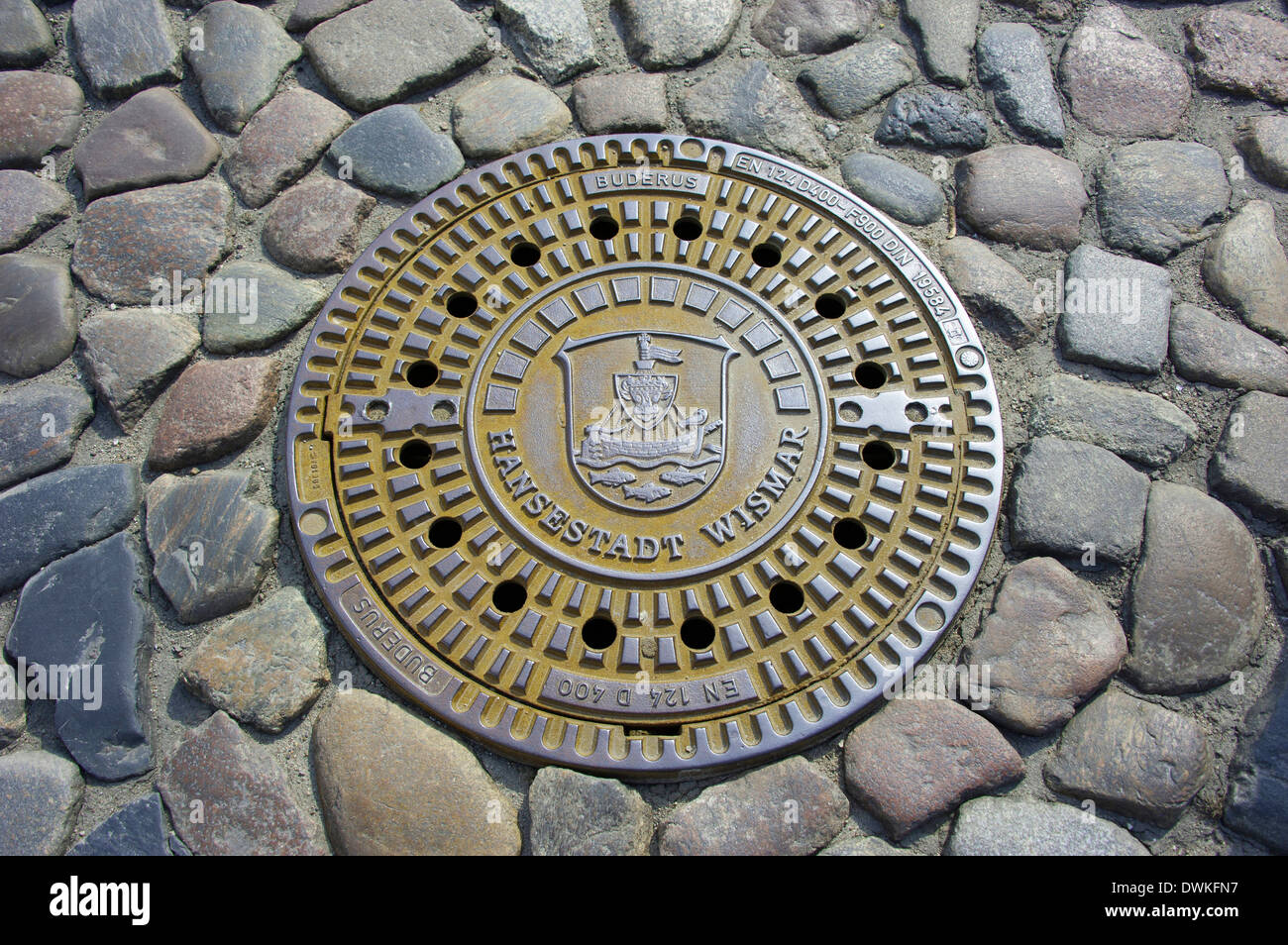Gully cover, Wismar - Stock Image