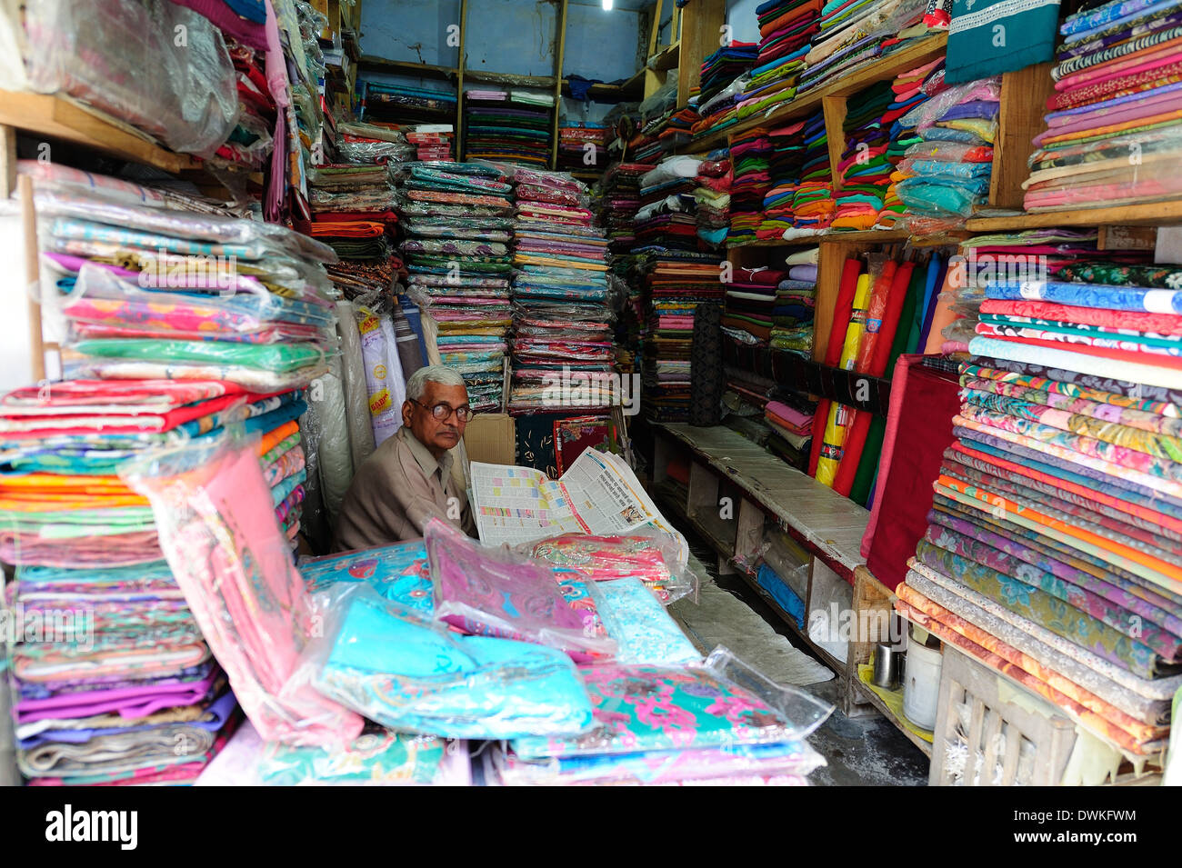 A cloth shop, Pragpur, Himachal Pradesh, India, Asia - Stock Image