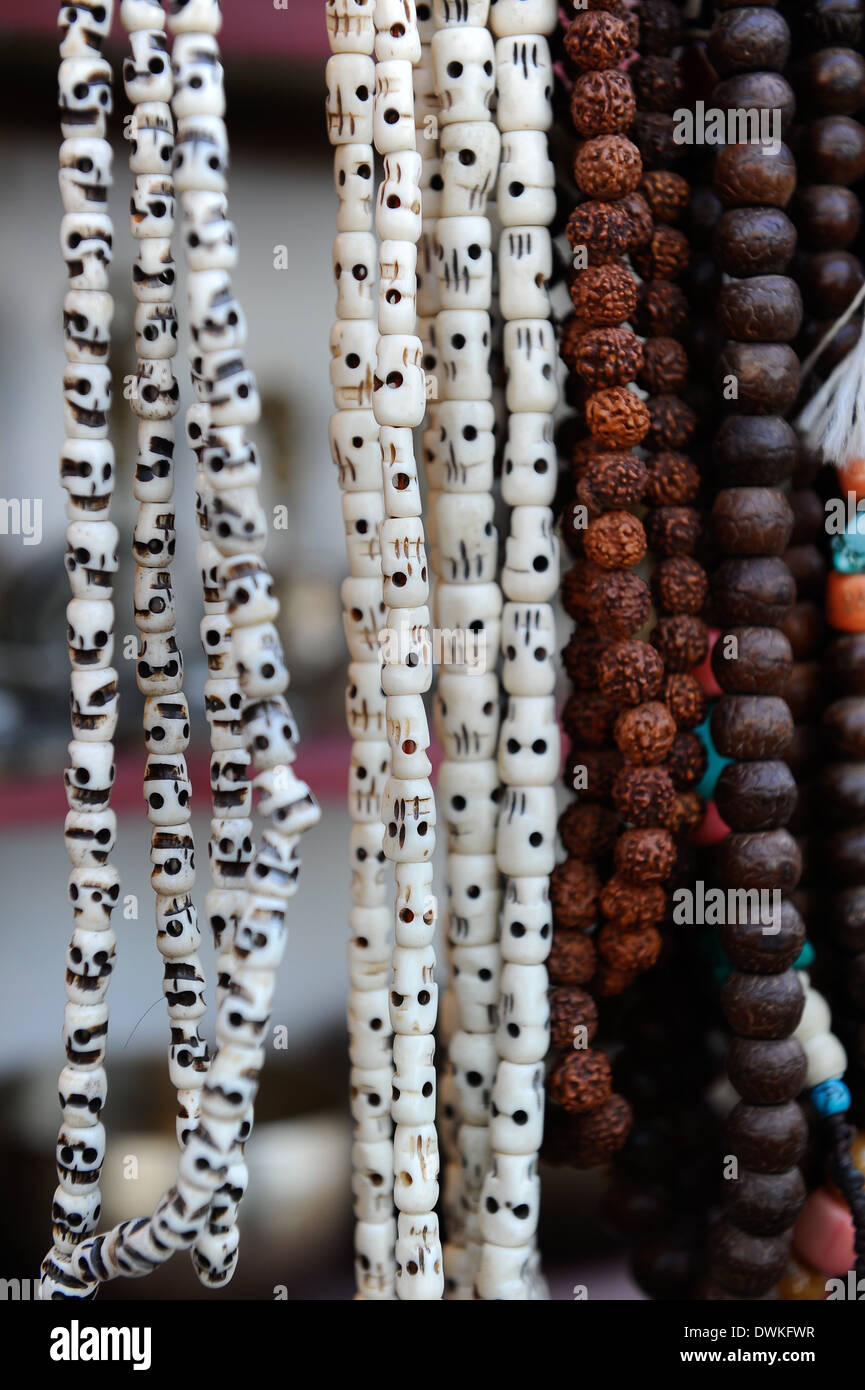 Buddhist prayer beads, Dharamsala, Himachal Pradesh, India, Asia - Stock Image