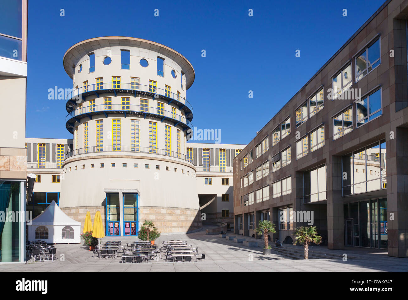 State University for music and visual arts, architect James Stirling, Stuttgart, Baden Wurttemberg, Germany, Europe - Stock Image