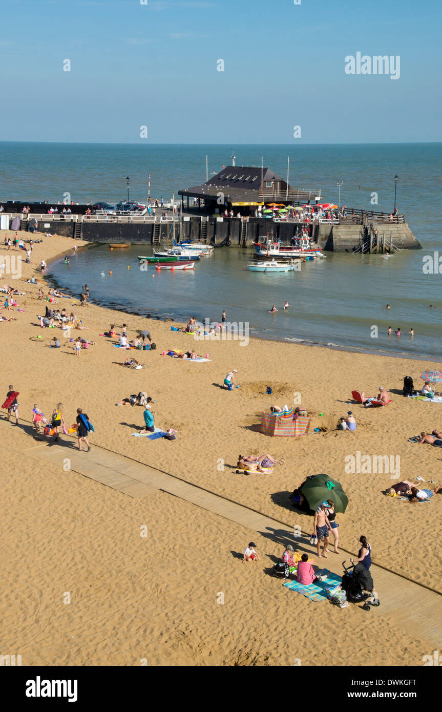 Viking Bay beach and harbour, Broadstairs, Kent, England, United Kingdom, Europe - Stock Image
