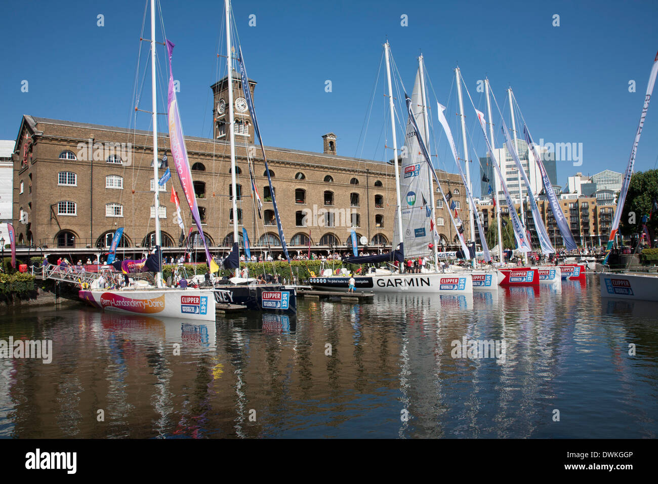 Clipper racing yachts docked at St. Katharine's Dock, London, England, United Kingdom, Europe - Stock Image