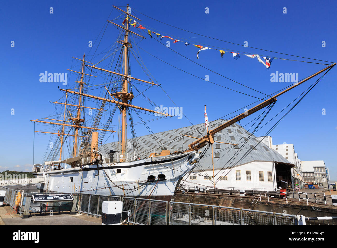 19th century sailing sloop HMS Gannet at maritime heritage museum in Historic Dockyard at Chatham, Kent, England, UK, Britain - Stock Image