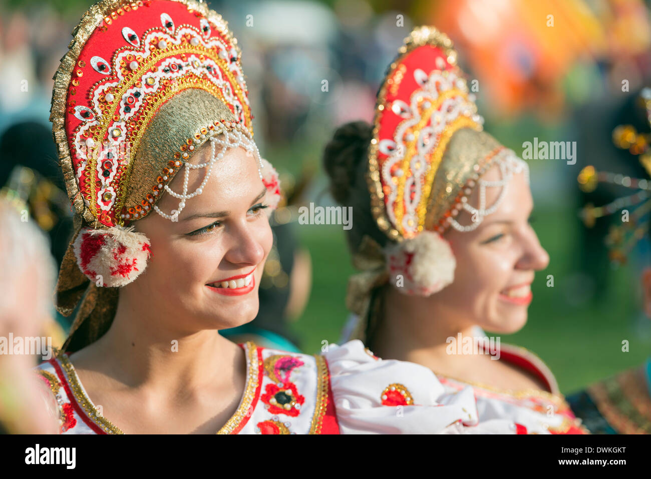 Performers from Romania in costume, International Festival of Mountain Folklore, Zakopane, Carpathian Mountains, Poland - Stock Image