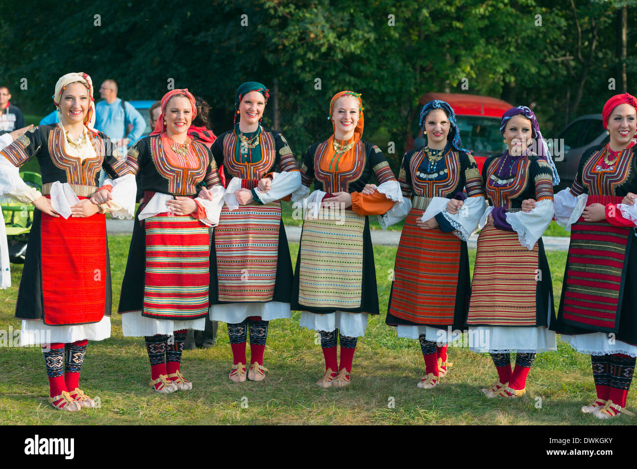 Performers from Serbia in costume, International Festival of Mountain Folklore, Zakopane, Carpathian Mountains, Poland - Stock Image