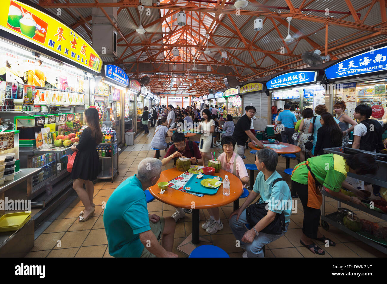 Hawker food court, Little India, Singapore, Southeast Asia, Asia - Stock Image