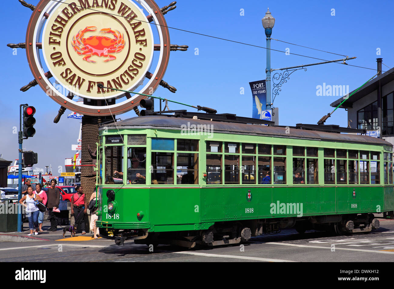 Trolley in Fisherman's Wharf, San Francisco, California, United States of America, North America - Stock Image