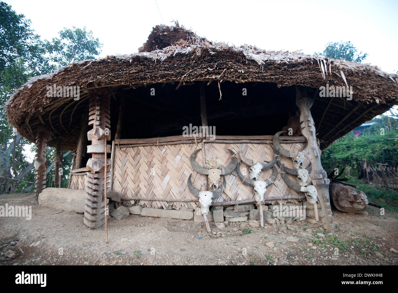 Village Gurung (boys dormitory) where tribal boys are trained to manhood, Ngangting, Nagaland, India - Stock Image