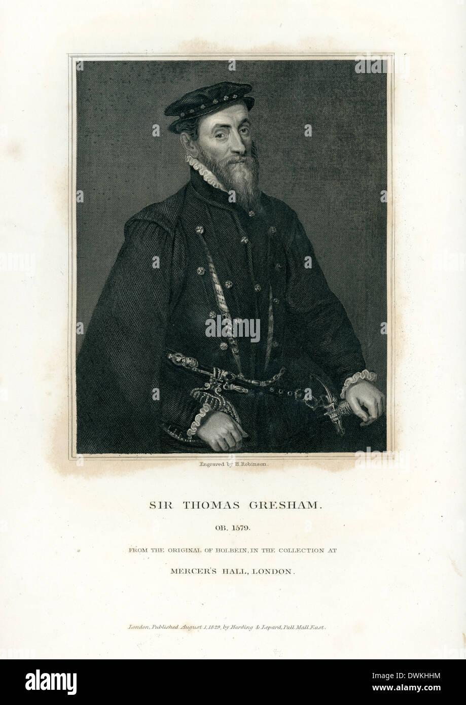 Portrait of Sir Thomas Gresham an English merchant and financier - Stock Image