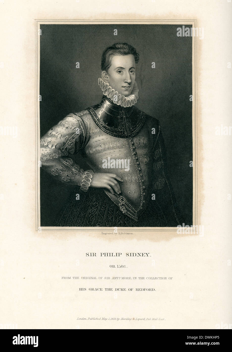 Portrait of Sir Philip Sidney an English poet, courtier and soldier - Stock Image