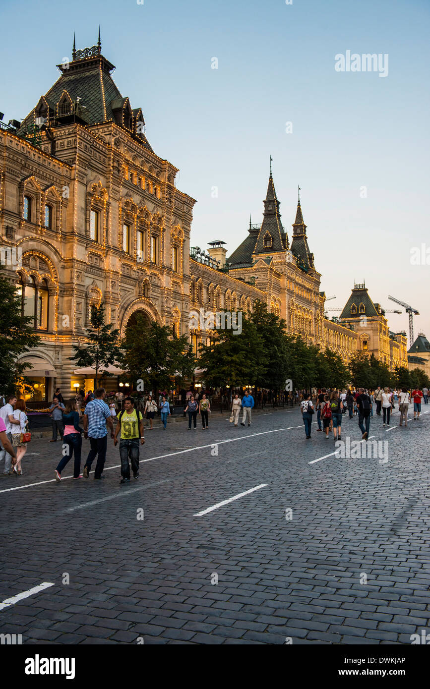 The GUM on Red Square at sunset, Moscow, Russia, Europe - Stock Image