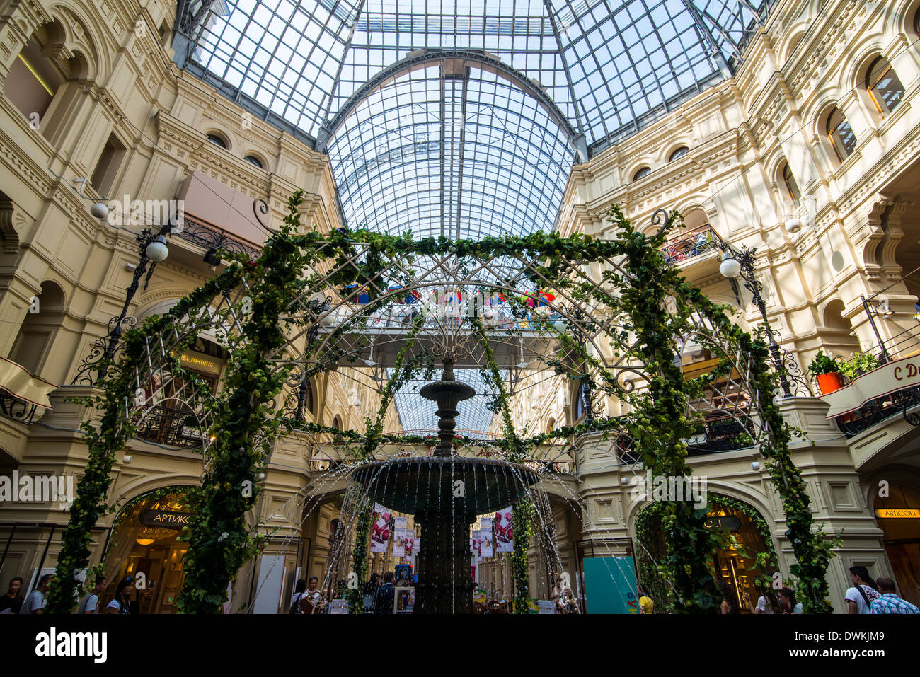 Inside GUM, the largest department store in Moscow, Russia, Europe - Stock Image