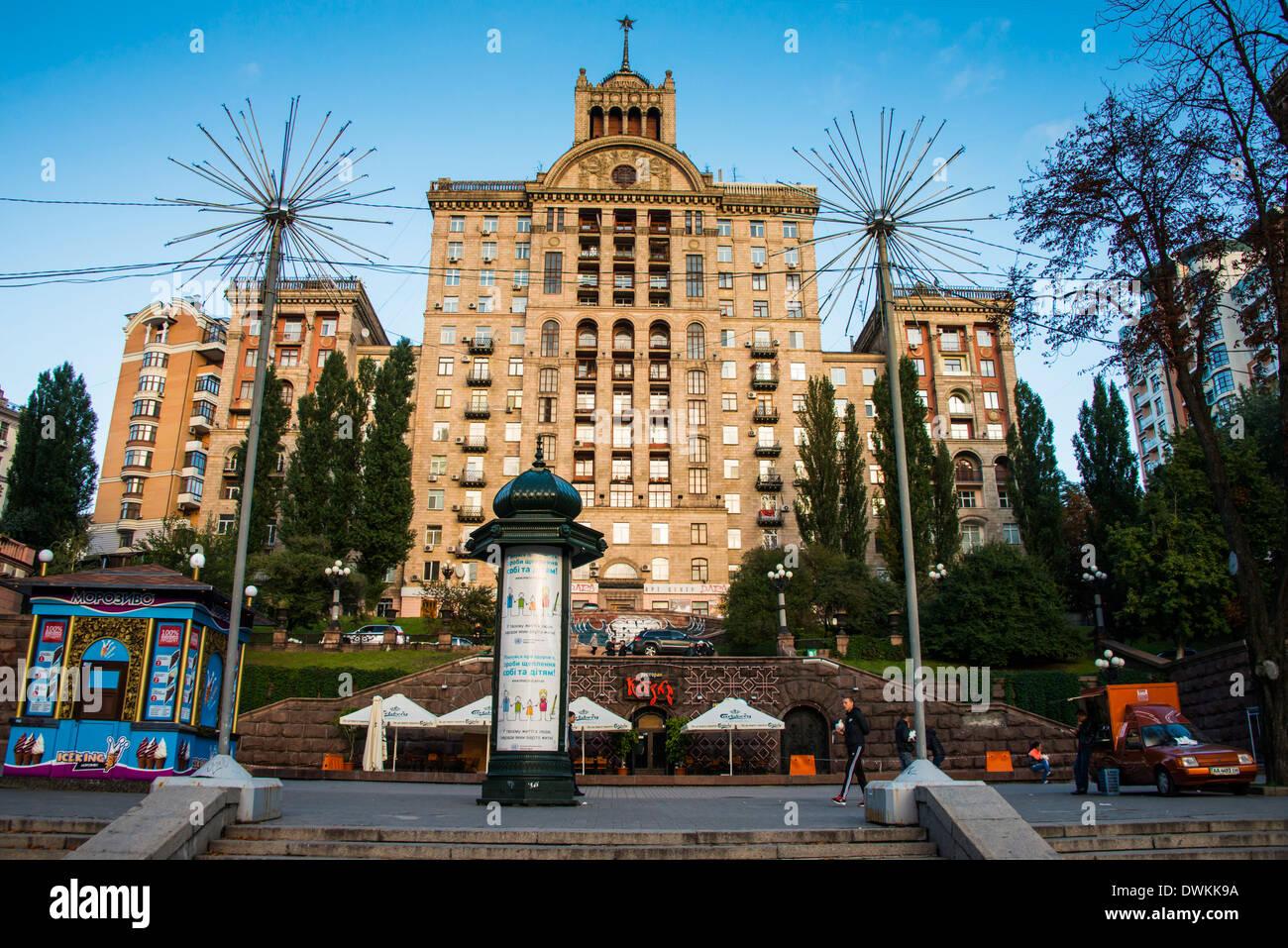 Stalinist architecture in the center of Kiev, Ukraine, Europe Stock Photo