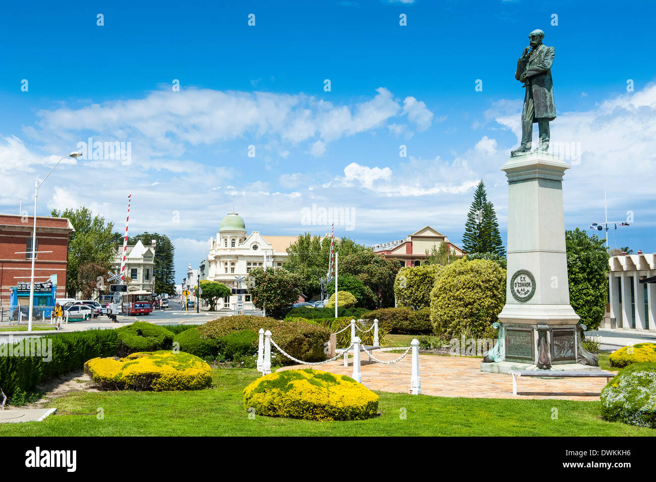 Statue of C. Y. O'Connor in the port of Fremantle, Western Australia, Australia, Pacific - Stock Image