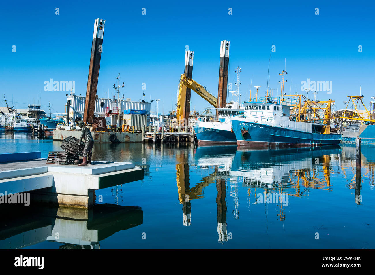 Fishing boat harbour of Fremantle, Western Australia, Australia, Pacific - Stock Image