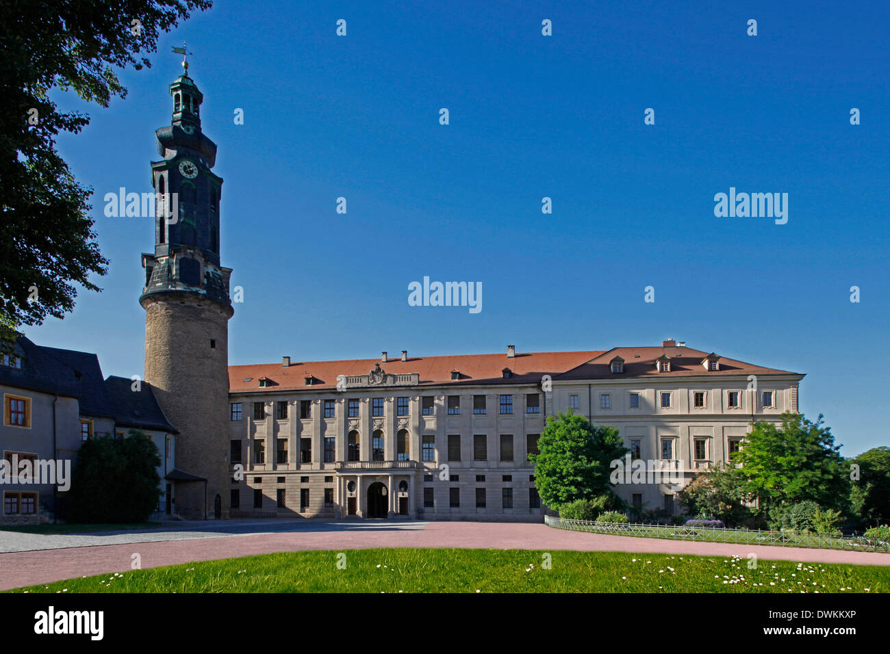 Due to its function as ducal residence, Weimar (Thuringia, Germany) is rich in early-modern castles and palaces. The biggest one is the City Castle at Burgplatz in city centre. The today's four-wing building was started after a great fire in 1774. The towe - Stock Image