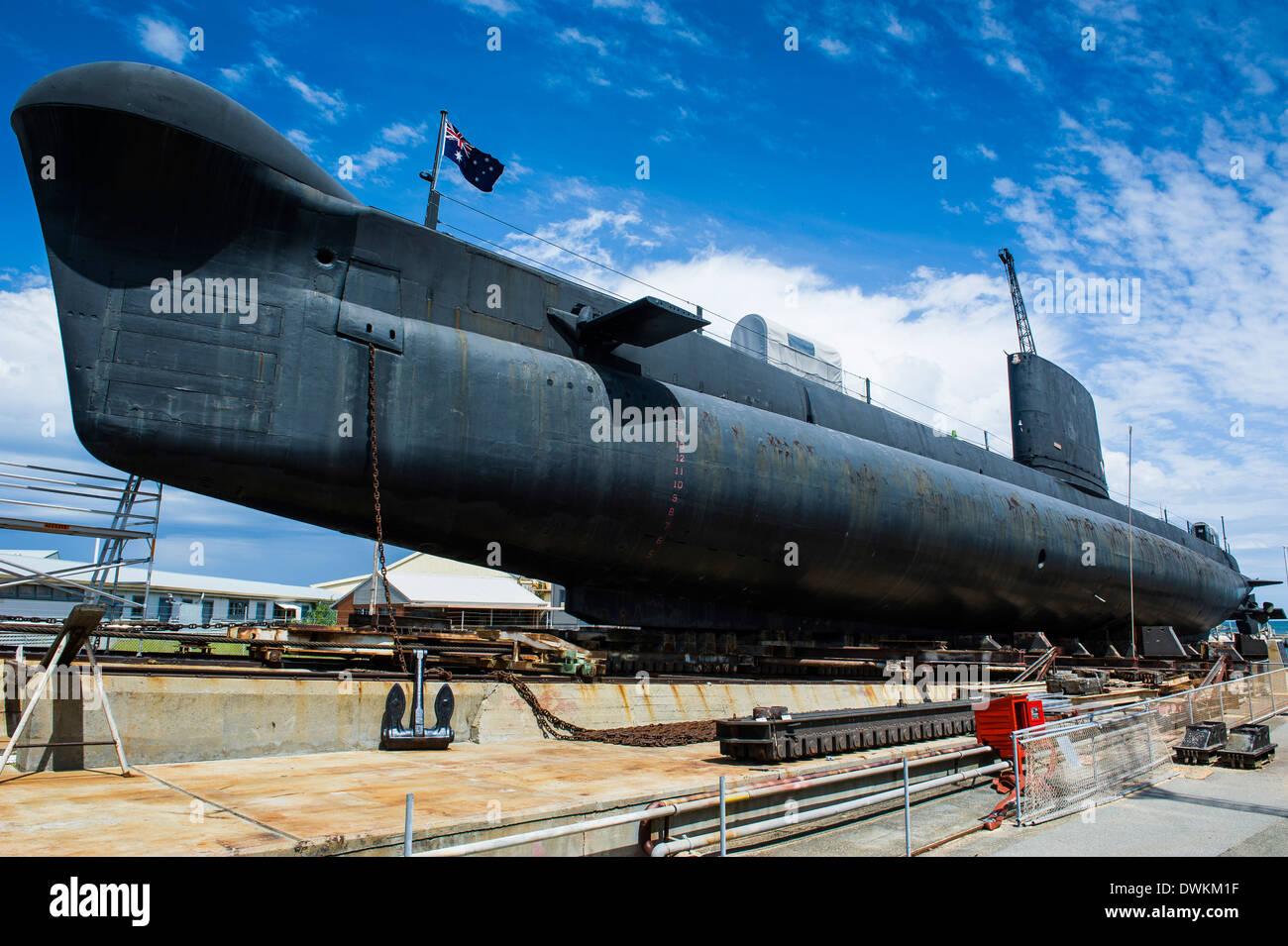 HMAS Ovens Submarine in the Western Australian Maritime Museum, Fremantle, Western Australia, Australia, Pacific - Stock Image