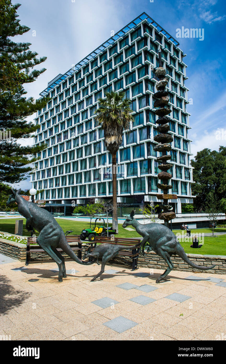 Kangaroo statue in front of the City of Perth council, Perth, Western Australia, Australia, Pacific - Stock Image