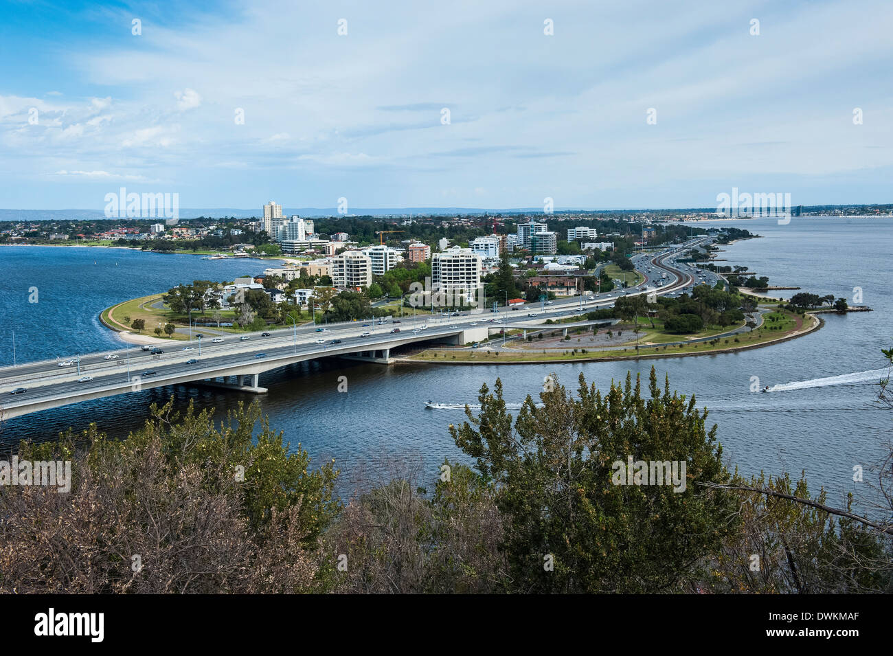 Lookout from Kings Park over South Perth, Western Australia, Australia, Pacific - Stock Image