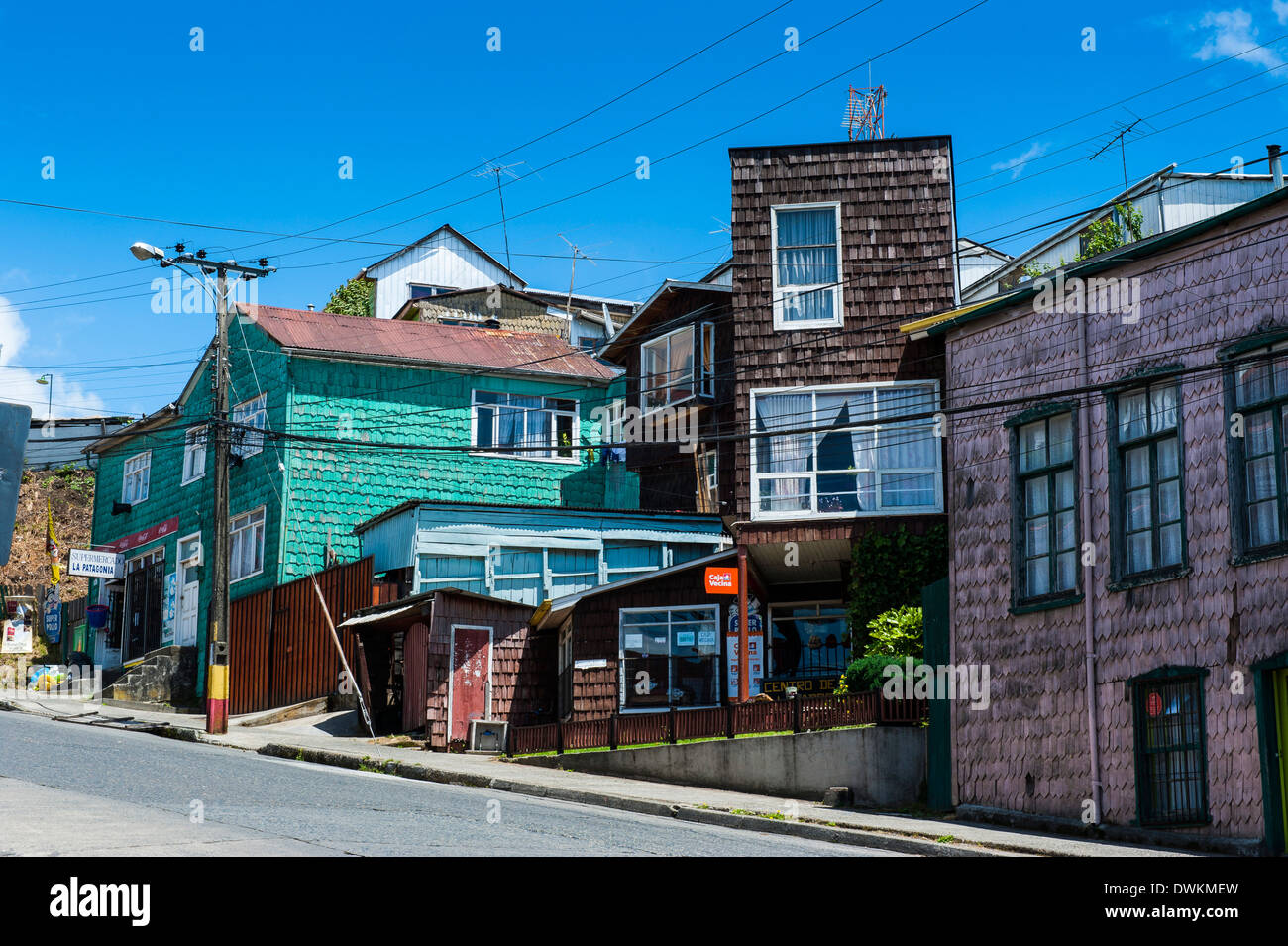 Wooden houses in Chonchi, Chiloe, Chile, South America - Stock Image