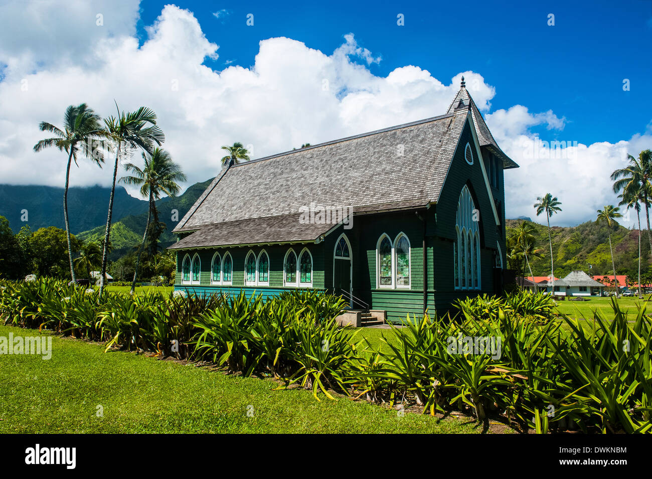 Wai'oli Hui'ia Church in Hanalai on the island of Kauai, Hawaii, United States of America, Pacific - Stock Image