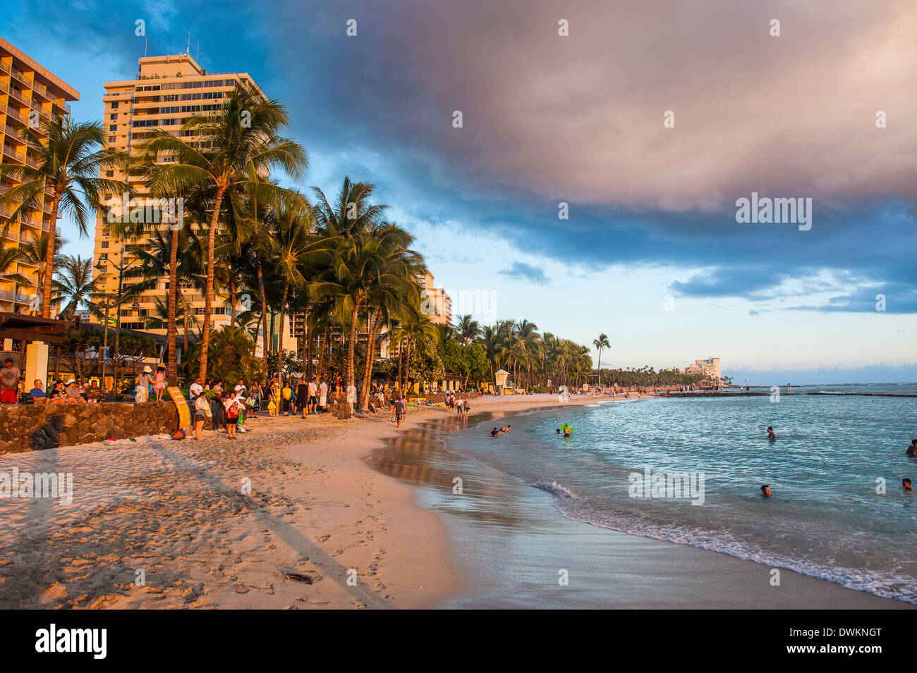 Late afternoon sun over the hotels on Waikiki Beach, Oahu, Hawaii, United States of America, Pacific - Stock Image