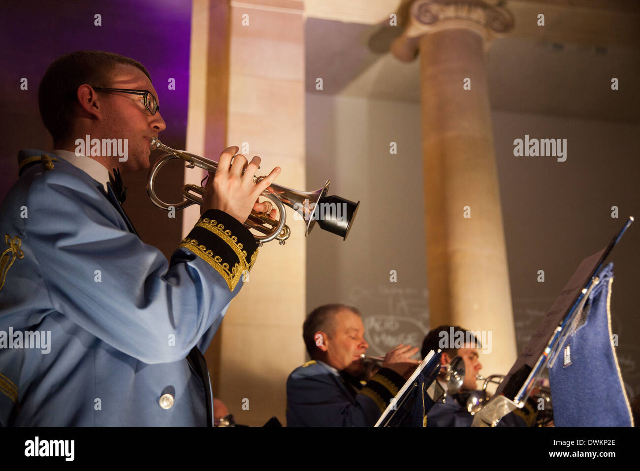 Jeremy Deller's Acid Brass featuring Fairey Brass Band in the Duveen Galleries. - Stock Image
