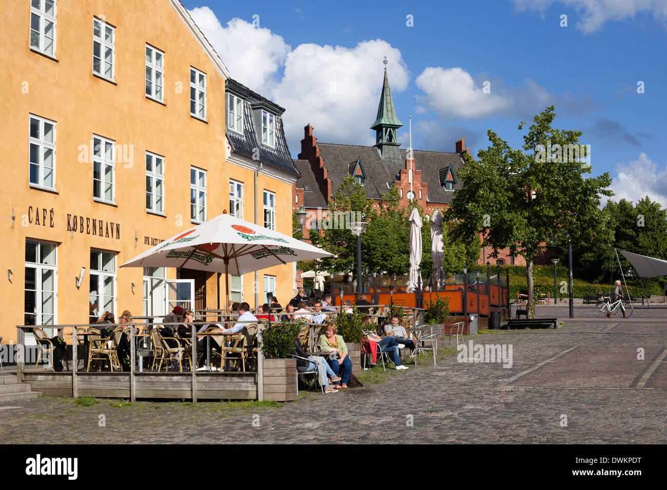 Cafe in Torvet square, Hillerod, Zealand, Denmark, Europe - Stock Image
