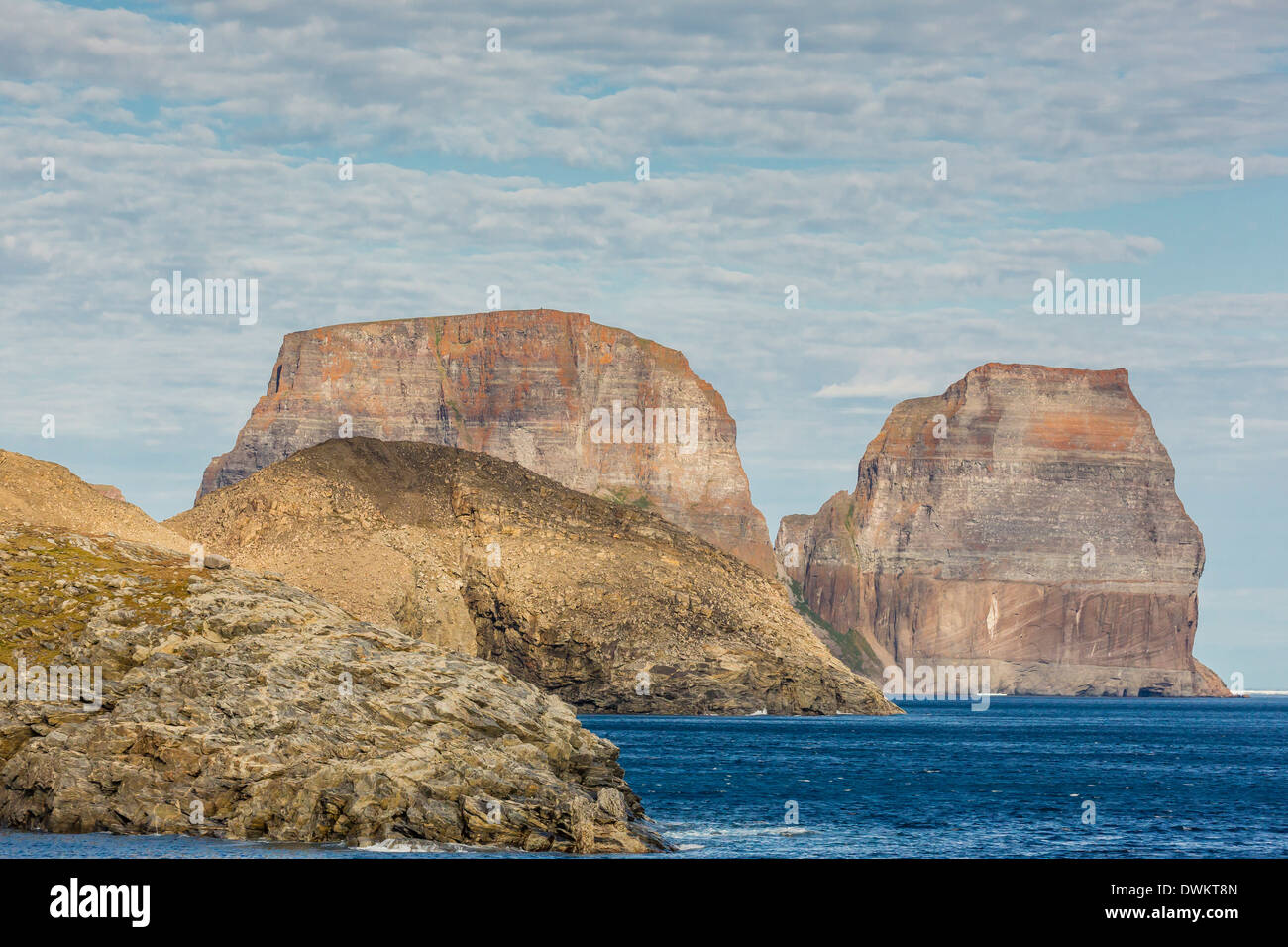 View of the jagged cliffs along the Cumberland Peninsula, Baffin Island, Nunavut, Canada, North America Stock Photo