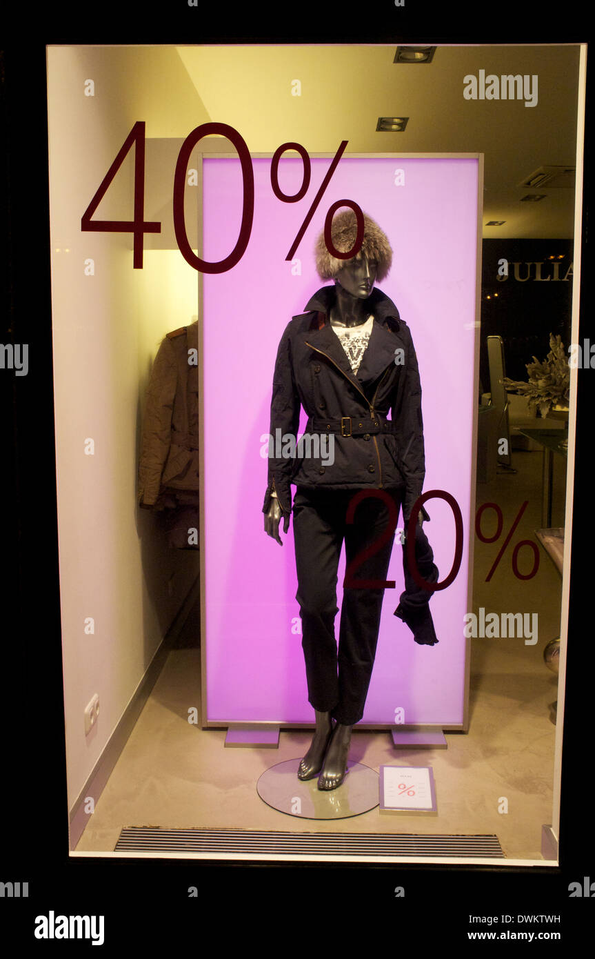 40% reduction of ladies clothes - Stock Image