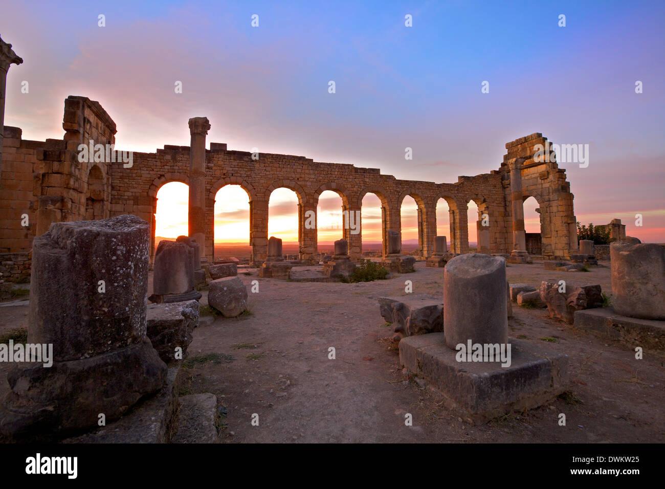 Excavated Roman City, Volubilis, UNESCO World Heritage Site, Morocco, North Africa, Africa - Stock Image