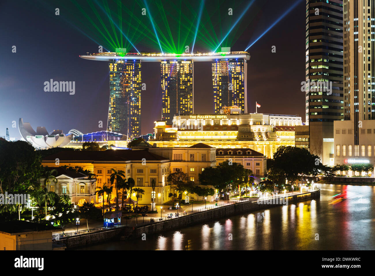 Marina Bay Sands Hotel and Fullerton Hotel, Singapore, Southeast Asia, Asia - Stock Image