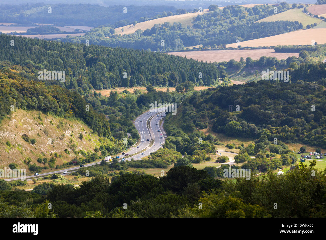 A3 dual carriageway cutting through the South Downs at Butser Hill. - Stock Image