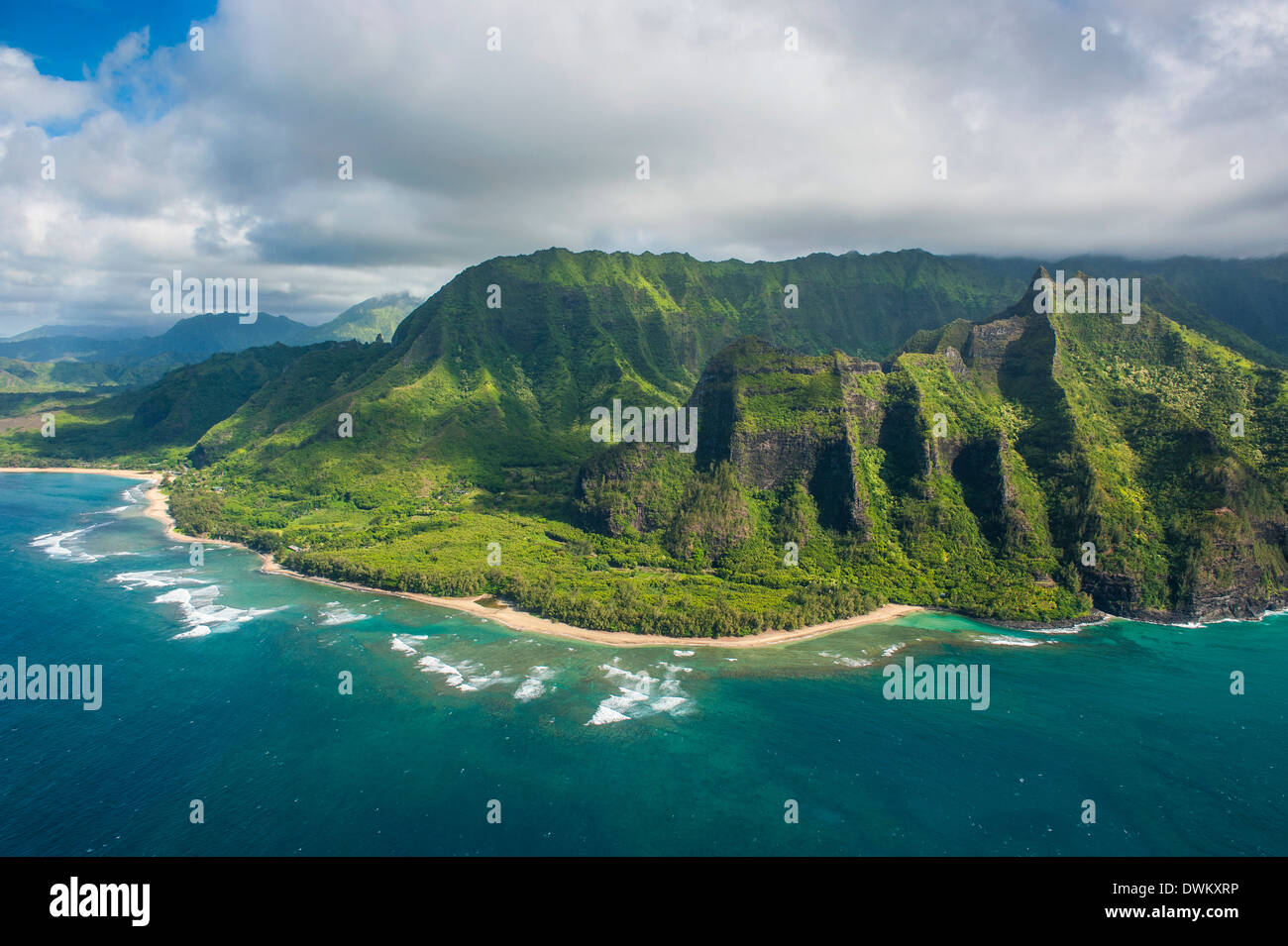 Aerial of the Napali coast, Kauai, Hawaii, United States of America, Pacific - Stock Image