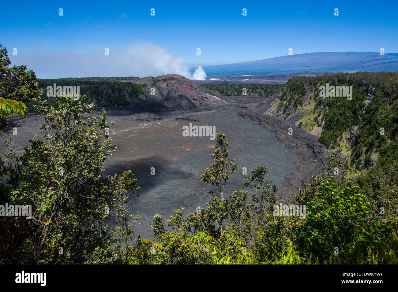 Volcanic crater before Kilauea Summit Lava Lake in the Hawaii Volcanoes National Park, UNESCO Site, Big Island, Hawaii, Pacific - Stock Image
