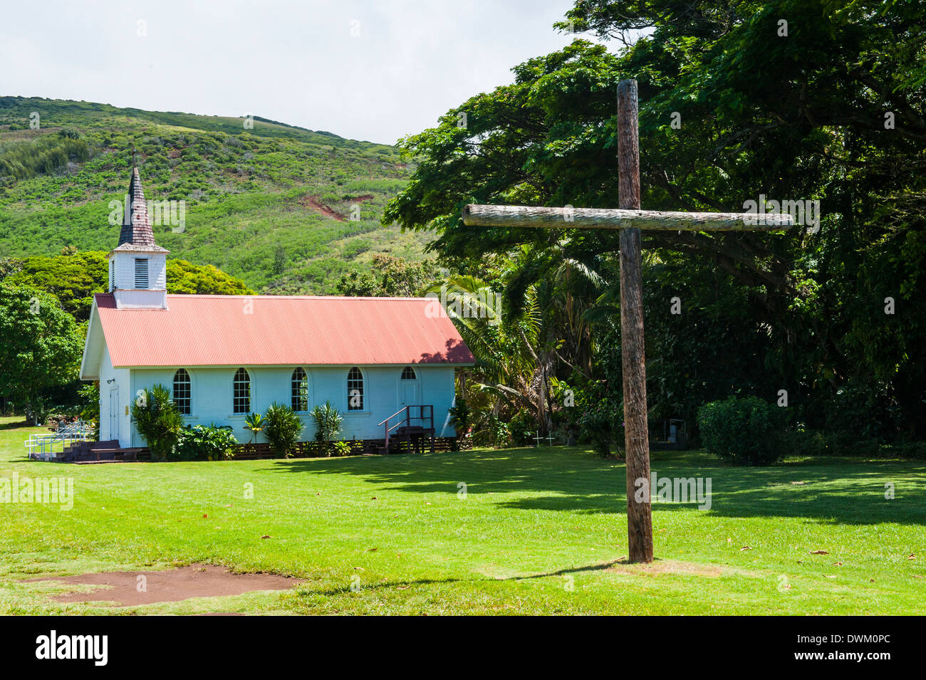 Our Lady of Seven Sorrows church, island of Molokai, Hawaii, United States of America, Pacific Stock Photo
