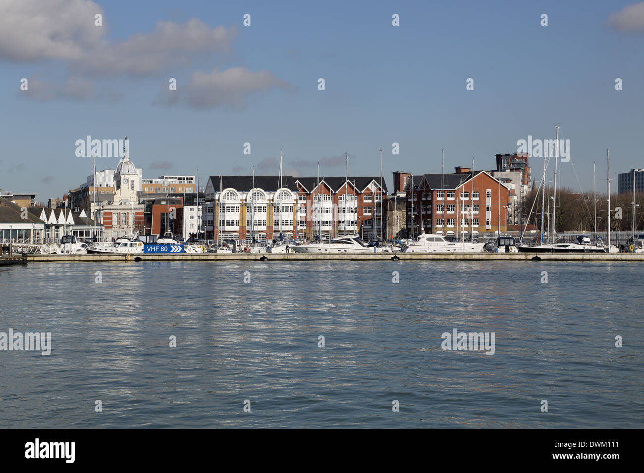 the city and port of southampton on the south coast of England as seen from Town Quay - Stock Image
